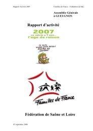 Rapport activité 2007 - Fédération 71 Familles de France