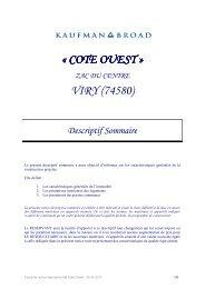 Notice descriptive KB Coté Ouest - 25 05 2011 - Kaufman & Broad