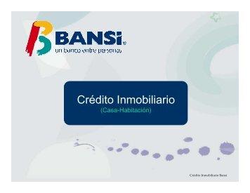 Crédito inmobiliario Tasa Fija y variable Marzo 2013 - Bansí