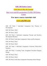EDU 305 Entire Course