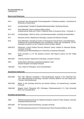 Curriculum Vitae Monika Habermann Ispm Bremen