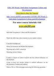EDU 305 Week 2 Individual Assignment Culture and Development.pdf