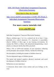 EDU 305 Week 3 Individual Assignment Classroom Observation Summary