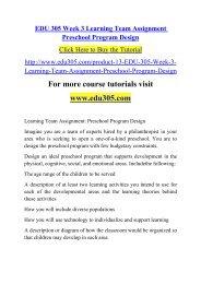 EDU 305 Week 3 Learning Team Assignment Preschool Program Design