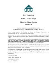 2011 Formulary List of Covered Drugs Diamante Choice ... - MMM