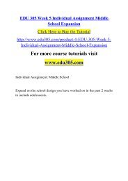 EDU 305 Week 5 Individual Assignment Middle School Expansion
