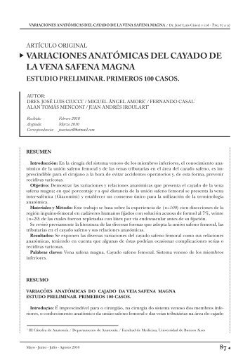 variaciones anatómicas del cayado de la vena safena ... - caccv.org.ar