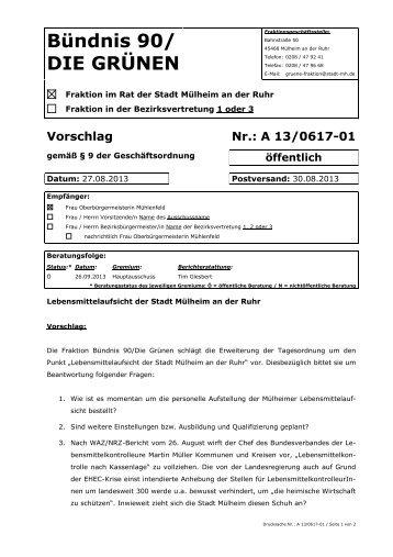 mehr... - Bündnis 90 / Die Grünen Mülheim an der Ruhr