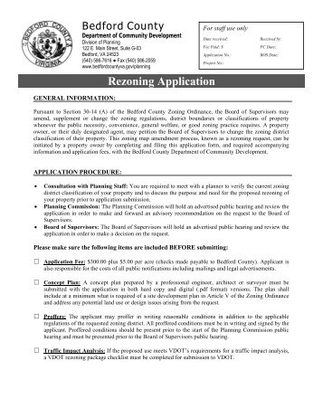 Rezoning Application - Bedford County, Virginia
