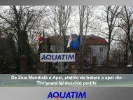 De Ziua Mondială a Apei, staţiile de tratare a apei din ... - Aquatim