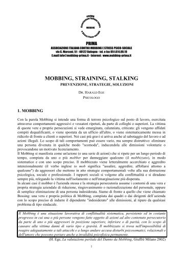 Mobbing, straining, stalking prevenzione, strategie, soluzioni