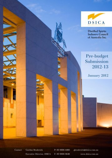 Pre-budget Submission 2012-13 - dsica
