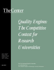 Quality Engines: The Competitive Context for Research Universities