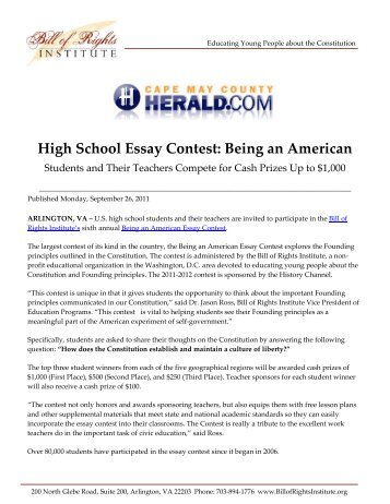 bill of rights institute essay contest All ages online visual art and creative writing contests color maryland green   sponsored by the bill of rights institute doors to diplomacy.