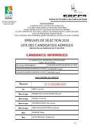 epreuves de selection 2010 liste des candidat(e)s ... - CHU de Rouen