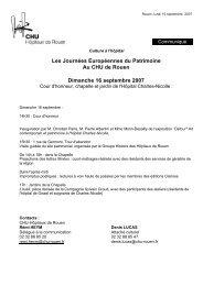 Les Journées Européennes du Patrimoine Au CHU de Rouen ...