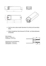• Use the same cable sheath diameters for primary and ... - Osram