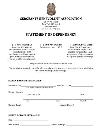 DD Form 137-5, Dependency Statement - Incapacitated Child Over ...
