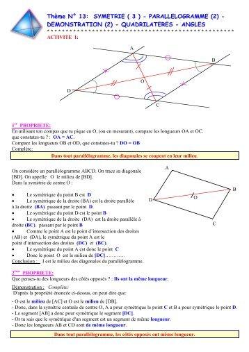 Thème N° 13: SYMETRIE ( 3 ) - PARALLELOGRAMME (2 ...
