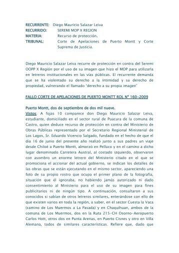 fallo corte de apelaciones de puerto montt rol nº ... - Fiscalía - MOP