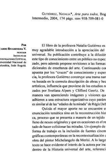 GUTIÉRREZ, NA TALlA •, Arte para todos, Bogotá: lntennedio, 2004 ...