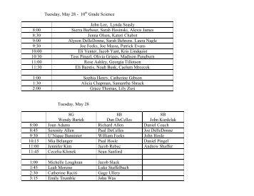 Tuesday, May 28 - 10 Grade Science John Lee ... - Trinity School
