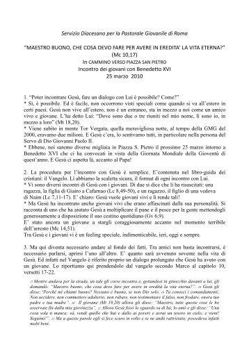 Servizio Diocesano per la Pastorale Giovanile di Roma ... - Gmg 2011