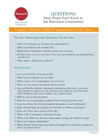 Questions Most People Don't Know to Ask Retirement ... - Front Porch