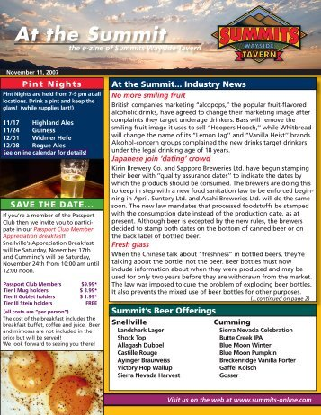 At the Summit - Summits Wayside Taverns