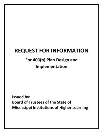 request for information - Mississippi Board of Trustees of State ...