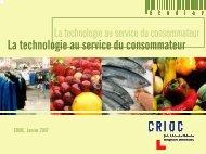 La technologie au service du consommateur - Crioc