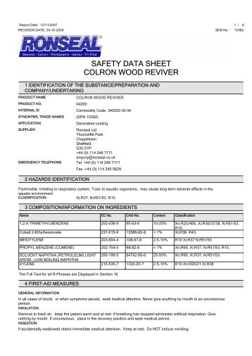 SAFETY DATA SHEET COLRON WOOD REVIVER - Toolbank