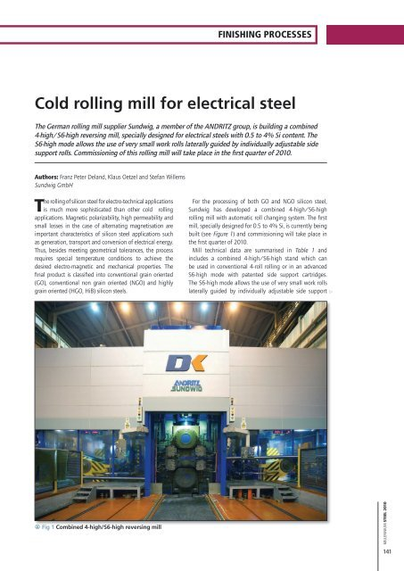 Cold rolling mill for electrical steel - Millennium Steel