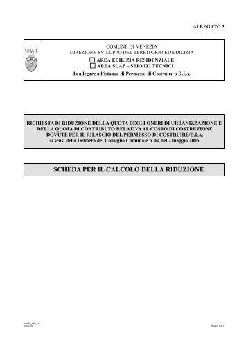 scheda per il calcolo della riduzione - Comune di Venezia - Portale ...