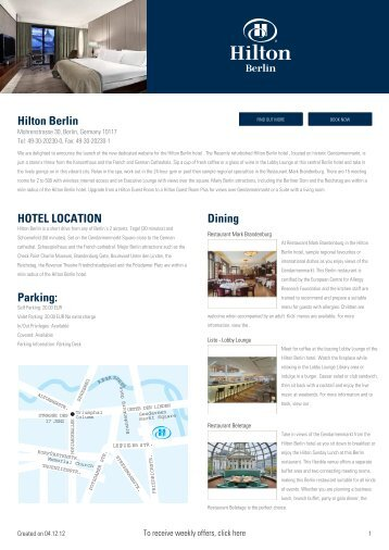 Hilton Berlin HOTEL LOCATION Parking: Dining - Hotel eBrochures