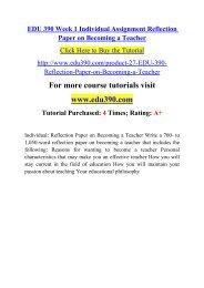 EDU 390 Week 1 Individual Assignment Reflection Paper on Becoming a Teacher.pdf
