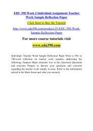 EDU 390 Week 2 Individual Assignment Teacher Work Sample Reflection Paper.pdf