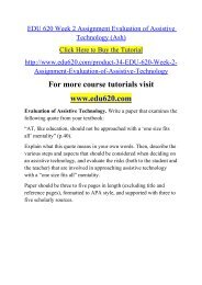 EDU 620 Week 2 Assignment Evaluation of Assistive Technology (Ash)