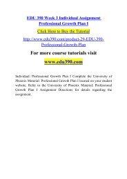 EDU 390 Week 3 Individual Assignment Professional Growth Plan I.