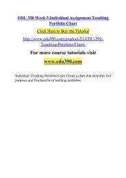EDU 390 Week 3 Individual Assignment Teaching Portfolio Chart