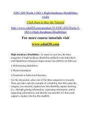 EDU 620 Week 3 DQ 1 High-Incidence Disabilities (Ash)
