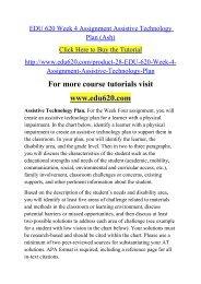 EDU 620 Week 4 Assignment Assistive Technology Plan (Ash)