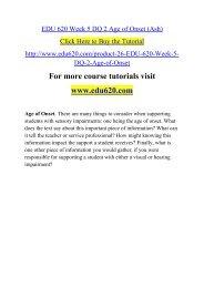 EDU 620 Week 5 DQ 2 Age of Onset (Ash)