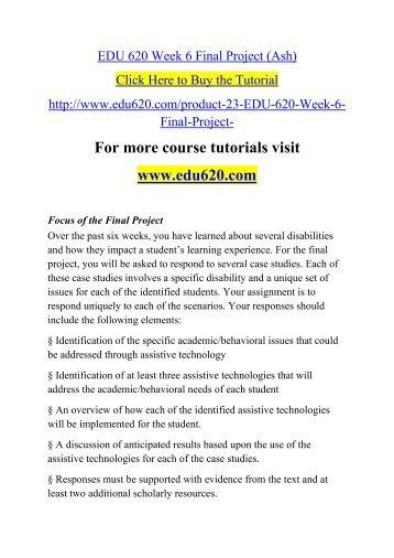 EDU 620 Week 6 Final Project (Ash)