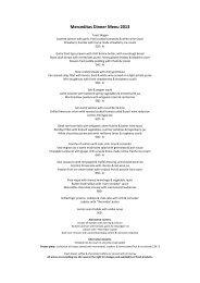 Merceditas Dinner Menu 2013 - Nordic Yacht Charter