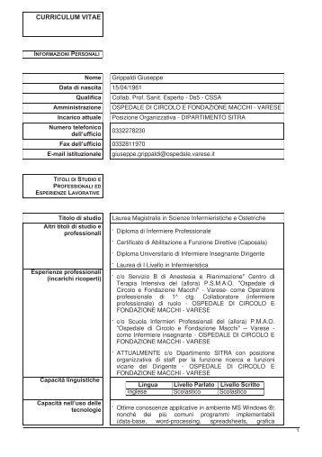 Grippaldi Giuseppe - Ospedale di Circolo e Fondazione Macchi