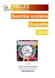 Rentrée scolaire Enquête 2013 - Familles de France