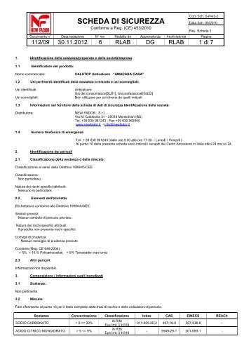 Scheda di sicurezza CALSTOP Anticalcare in Tabs - Pellonisrl.it