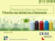 Prévention des déchets lors d'événements - Crioc