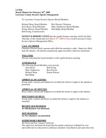 LCISM Board Minutes for February 26 , 2009 Lawrence County ...